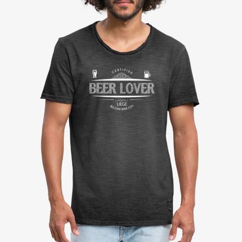 beerloverwhite png - T-shirt vintage Homme