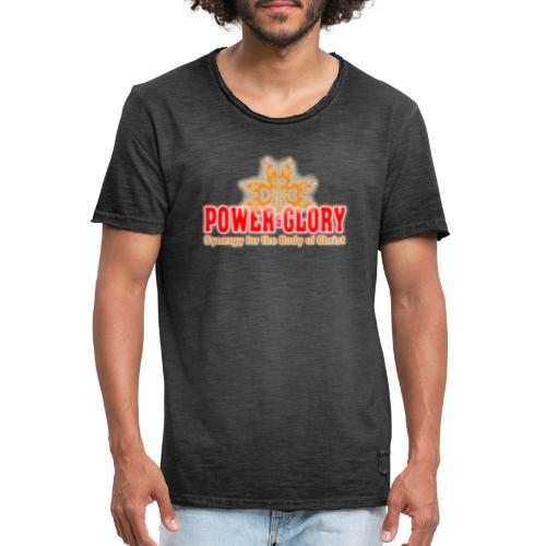 Power and Glory Logo glow red and orange - Men's Vintage T-Shirt