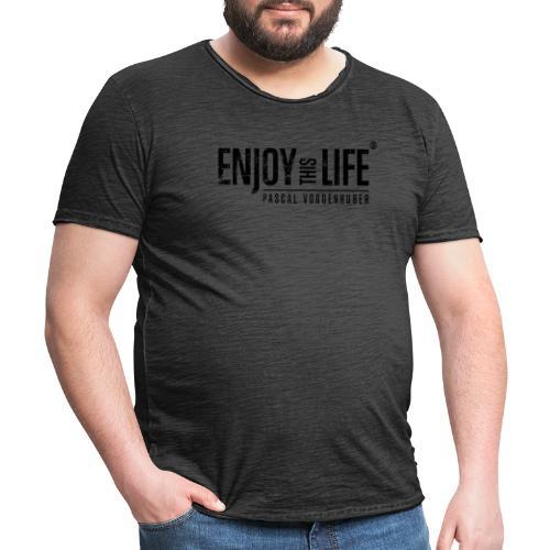 Enjoy this Life®-Classic Black Pascal Voggenhuber - Männer Vintage T-Shirt