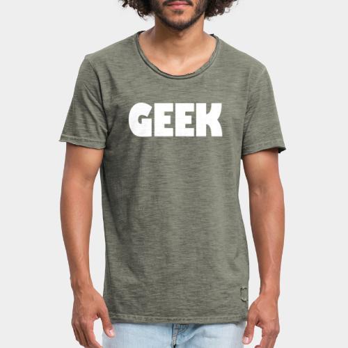 GEEK Text Logo White - Men's Vintage T-Shirt