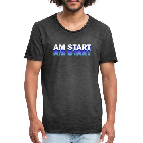 am Start - blau weiß faded - Männer Vintage T-Shirt