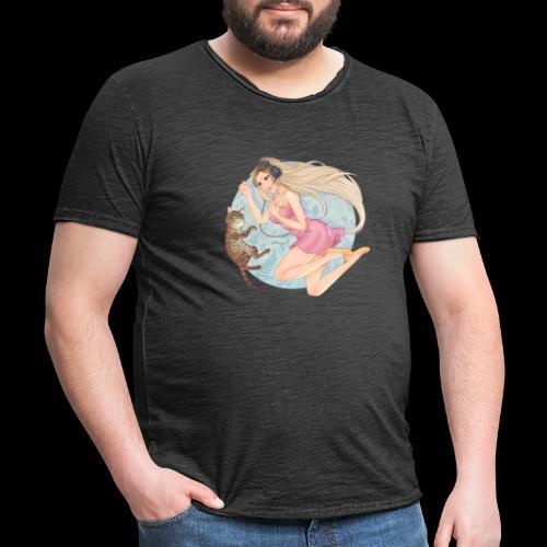 Linneafly - Vintage-T-skjorte for menn