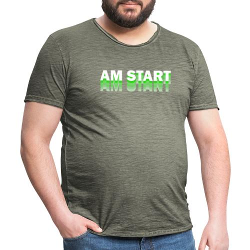 am Start - grün weiß faded - Männer Vintage T-Shirt
