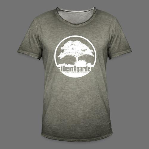 hiljainen puutarha (valkoinen) - Miesten vintage t-paita