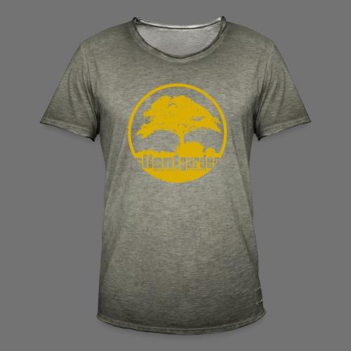 hiljainen puutarha (keltainen oldstyle) - Miesten vintage t-paita