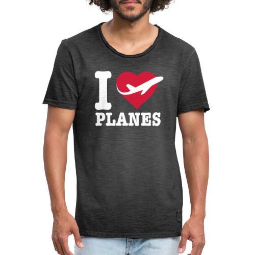 Uwielbiam samoloty - białe - Koszulka męska vintage