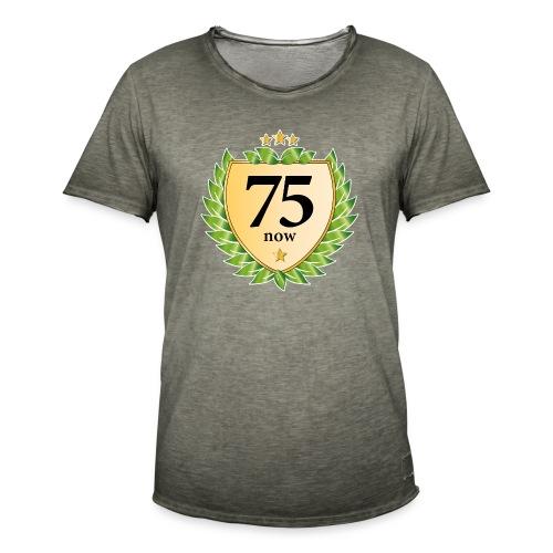 75. Geburtstag Wappen Lorbeerkranz goldene Sterne - Men's Vintage T-Shirt