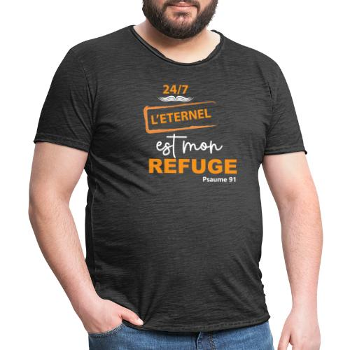 24 7 eternel mon refuge orange blanc - T-shirt vintage Homme