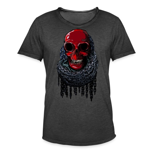 RED Skull in Chains - Men's Vintage T-Shirt