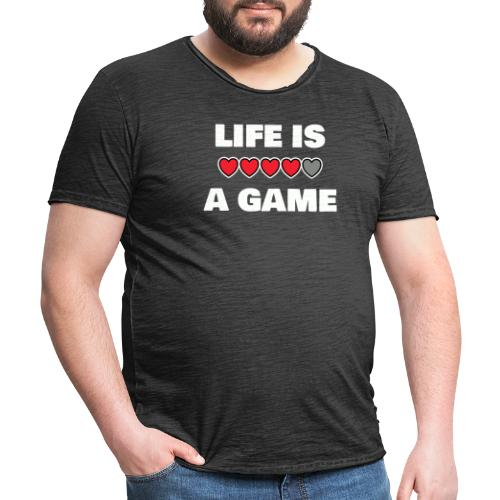 life is a game, White - Vintage-T-shirt herr