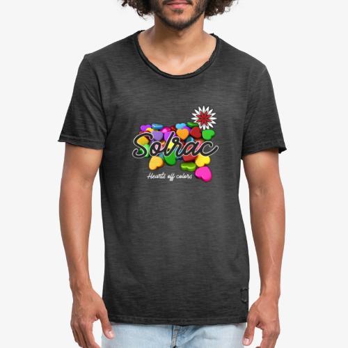 SOLRAC Hearts black - Camiseta vintage hombre