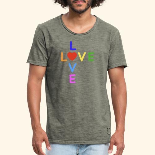 Rainbow Love. Regenbogen Liebe - Männer Vintage T-Shirt
