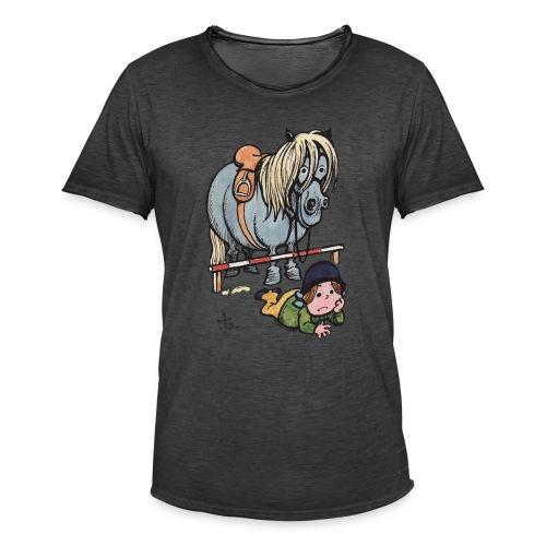 Thelwell Reiterin Liegt Hinter Dem Sprung - Männer Vintage T-Shirt
