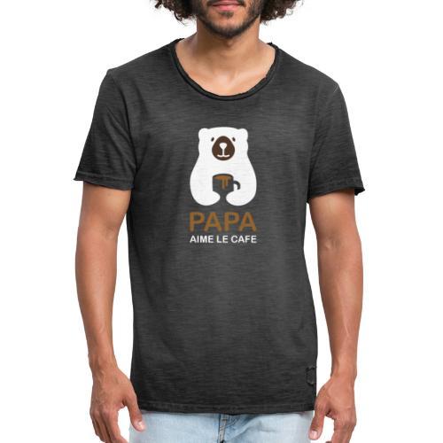 Papa aime le café noir - T-shirt vintage Homme
