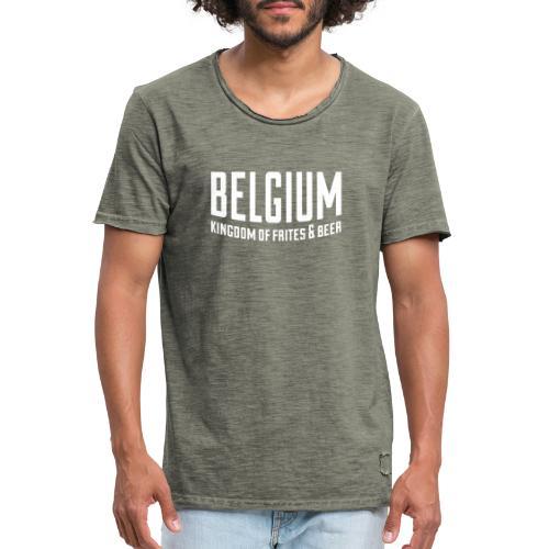 Belgium kingdom of frites & beer - T-shirt vintage Homme
