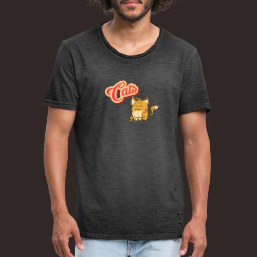 Katze   Katzen süß Schriftzug - Männer Vintage T-Shirt