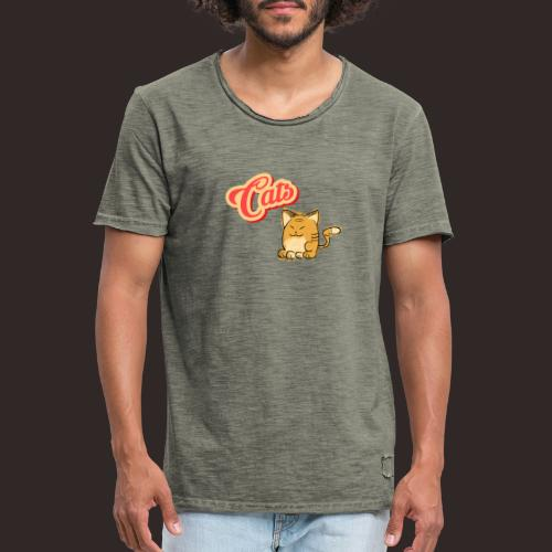 Katze | Katzen süß Schriftzug - Männer Vintage T-Shirt