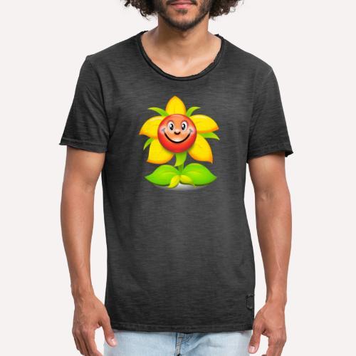 Smiling Face Happy Flower - Men's Vintage T-Shirt