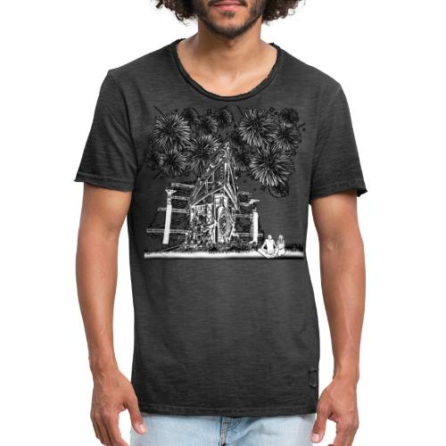 stage with fireworks and love - Mannen Vintage T-shirt