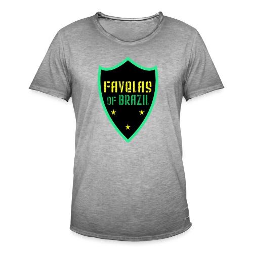FAVELAS OF BRAZIL NOIR VERT DESIGN - T-shirt vintage Homme