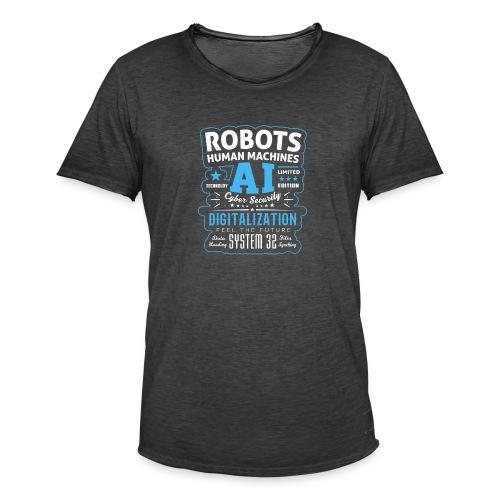 Robots Human Machine Ai Cyber Security - Maglietta vintage da uomo