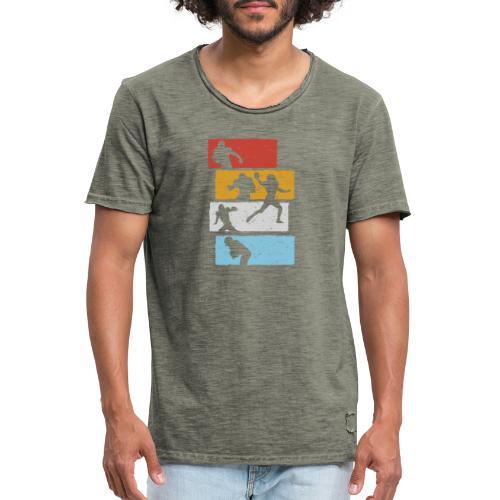 retro streifen football spieler - Männer Vintage T-Shirt