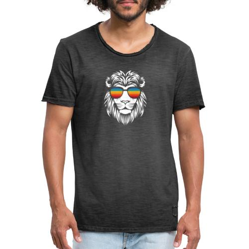Lion Sunglas - Männer Vintage T-Shirt