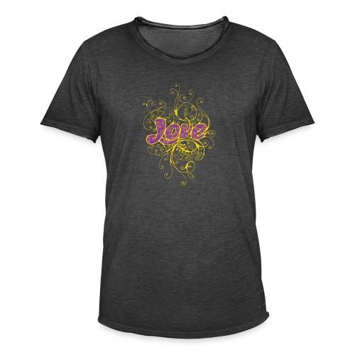 LOVE VIOLA CON DECORI - Maglietta vintage da uomo