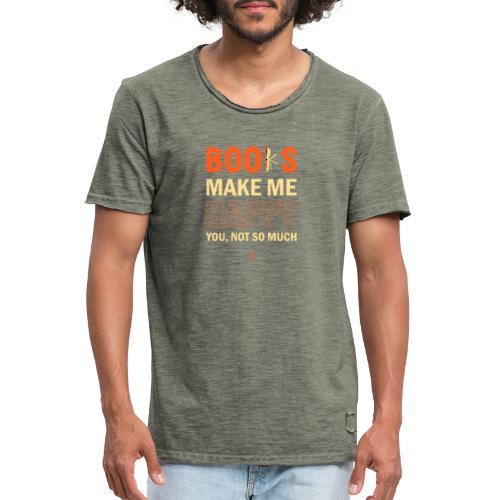 Books Make Me Happy - Orange - Men's Vintage T-Shirt