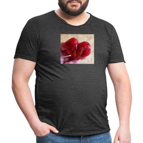 Jordgubbs hjärta - Vintage-T-shirt herr