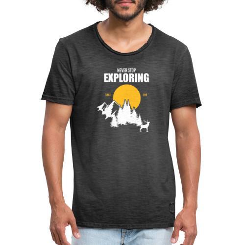 NEVER STOP EXPLORING - Maglietta vintage da uomo