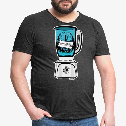 Hirn im Mixer - neon blau - Männer Vintage T-Shirt