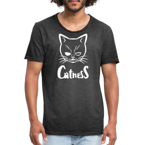 Mad-Cat / white - Männer Vintage T-Shirt