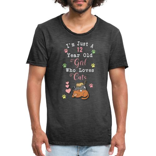 I'm just a 12 year old girl who loves cats - T-shirt vintage Homme