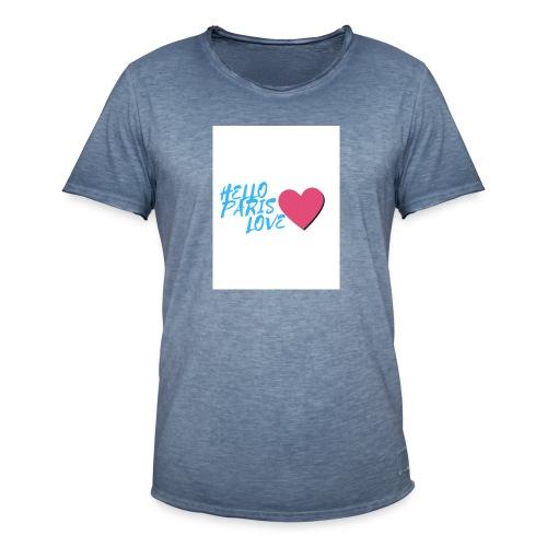hello paris love bleu - T-shirt vintage Homme