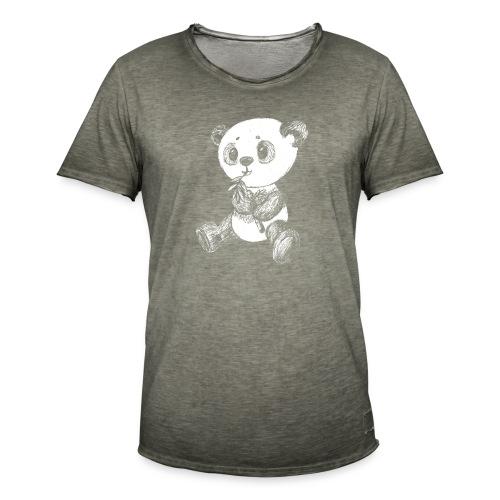 Panda bjørn hvid scribblesirii - Herre vintage T-shirt
