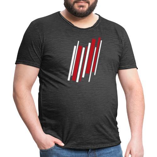 Red-White-Lines - Männer Vintage T-Shirt