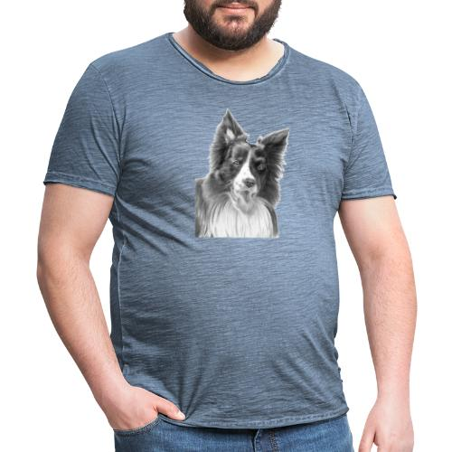 border collie 3 - Herre vintage T-shirt