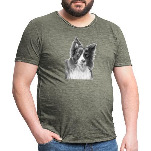 border collie 3 - Herre vintage T-shirt
