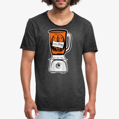 Hirn in Mixer neon orange - Männer Vintage T-Shirt