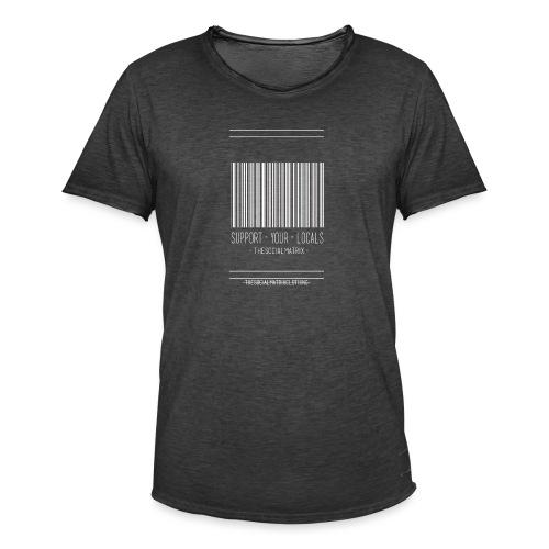 STEUN JE PLAATSELIJKE [WIT] - Mannen Vintage T-shirt
