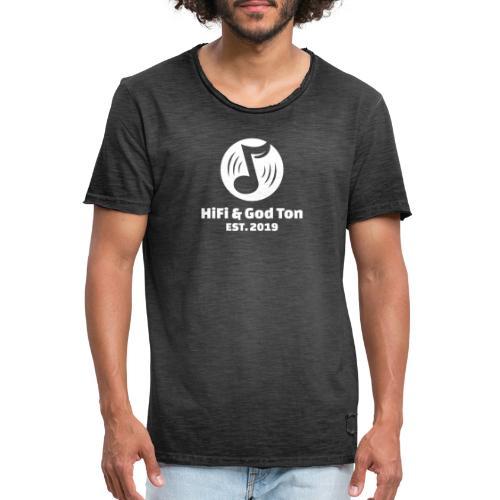 HiFi & God Ton logo vit - Vintage-T-shirt herr