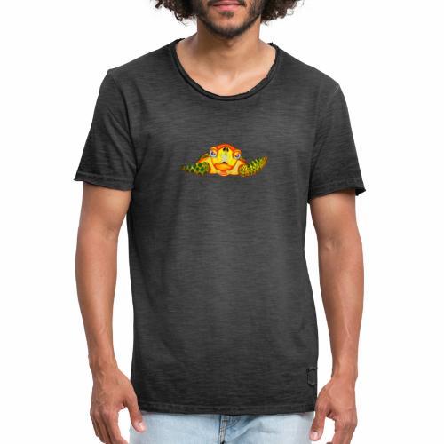 Boze Turtle Fluo - Mannen Vintage T-shirt