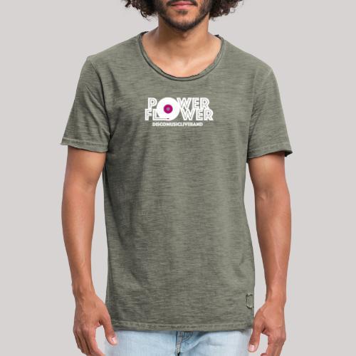 Logo PowerFlower bianco e fuxia - Maglietta vintage da uomo