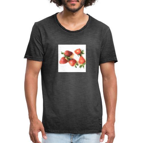 Rode Erdbeern - Männer Vintage T-Shirt