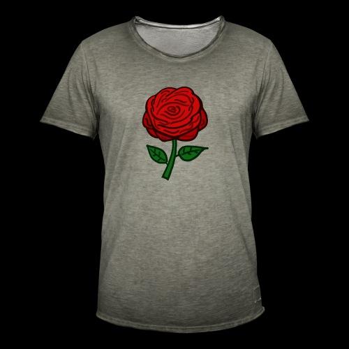Rote Rose - Männer Vintage T-Shirt