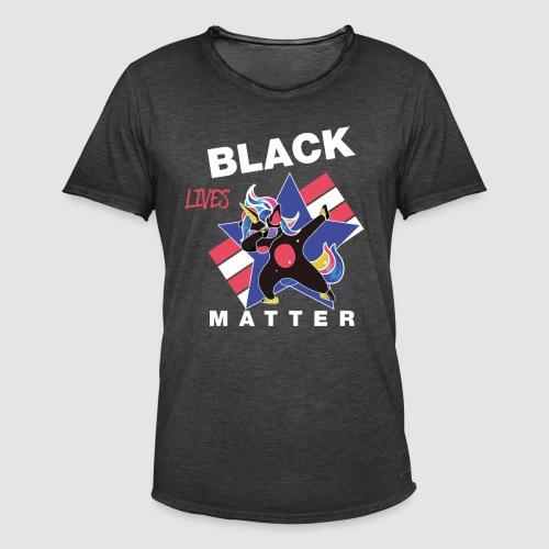 Dabbendes schwarzes Einhorn - Männer Vintage T-Shirt