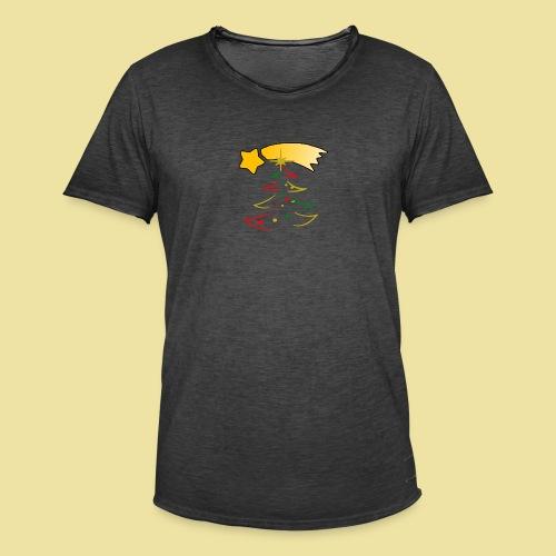 Weihnachtsbaum mit einer Sternschnuppe - Männer Vintage T-Shirt
