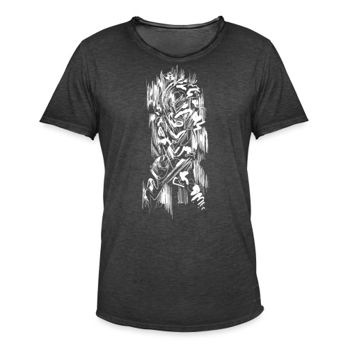 Samurai / White - Abstract Tatoo - Men's Vintage T-Shirt
