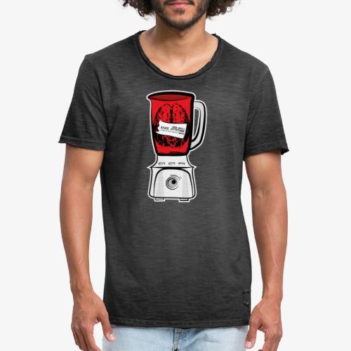 Hirn im Mixer - neon rot - Männer Vintage T-Shirt
